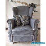 sofa wing chair minimalis abu abu
